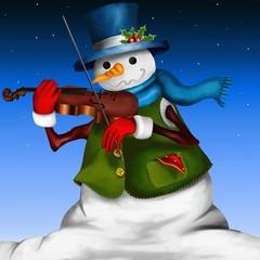 pupazzo di neve con violino
