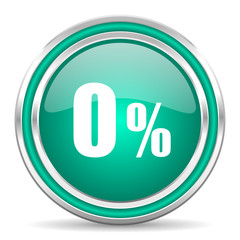 0 percent green glossy web icon