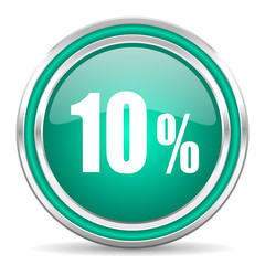 10 percent green glossy web icon