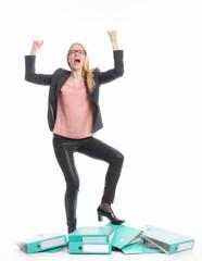 Geschäftsfrau mit Burnout