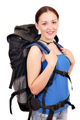 girl with backpack ready for hiking