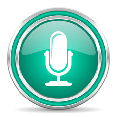 microphone green glossy web icon
