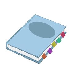 blue notebook,  vector cartoon, illustration