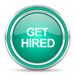 get hired green glossy web icon