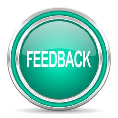 feedback green glossy web icon