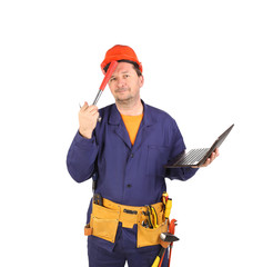 Engineer with laptop hands hammer.