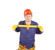Worker in hardhat with measure ruler.