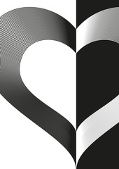 black and white background with heart