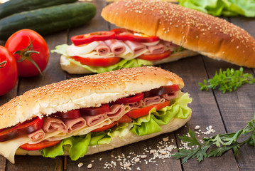 Homemade sandwiches with ham and cheese