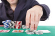 Poker player isolated on a white background