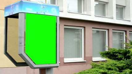 billboard on phone booth - green screen - building