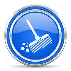 broom blue glossy web icon