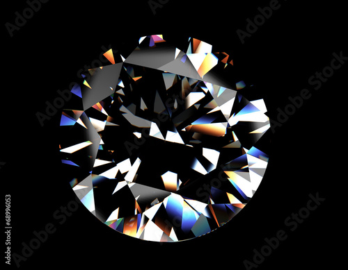 Round shape brilliant Diamond. Jewelry background - 68996053