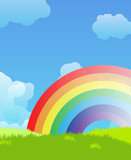 Fototapety Landscape with rainbow