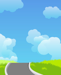 Landscape with road and clouds