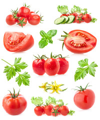 Collections of tomatoes isolated on white background
