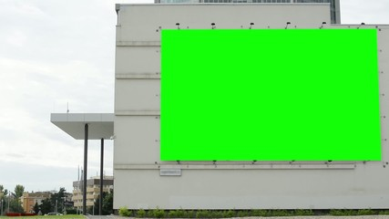 billboard on a building (shopping center) - green screen