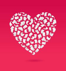 Heart shape. Flying sheet. Vector illustration.