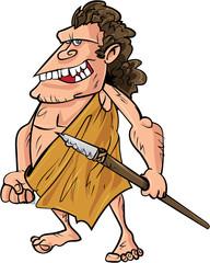 Cartoon caveman with a spear