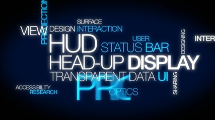 HUD head-up display projector words tag cloud video