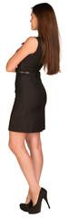 Businesswoman in dress. Rear view