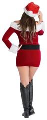 Rear view of sexy santa girl