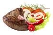 canvas print picture - Steak und Salat