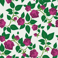 Crimson Roses Seamless Pattern