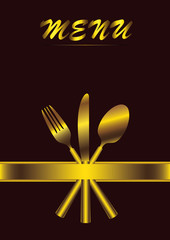 menu with cutlery on brown background