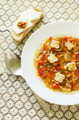 soup Ratatouille with eggplant and peppers