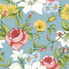 Seamless Pattern with Vintage Wildflowers