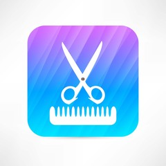 scissors and comb icon