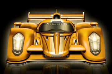 Superrennwagen, Sportwagen gelb, freigestellt