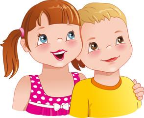 Girl hug a boy - cute funny kids smiling happily