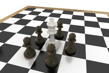 White king surrounded by black pawns