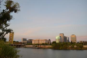 Sacramento river and city skyline
