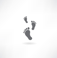 Black bare footsteps isolated on white background