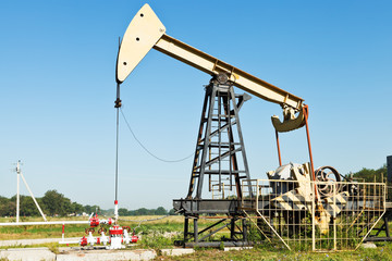 pumpjack pumps oil in Kuban region, Russia