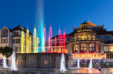 Night view of colorful fountain in Sopot