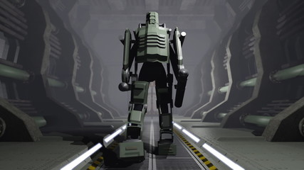 Animation of a futuristic mech walking through a cargo hangar