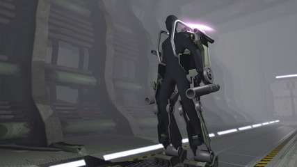 Animation of a futuristic mech
