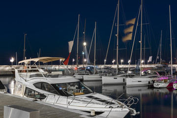 Marina with yacht boats in Sopot at night, Poland