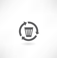wastebasket icon with arrows