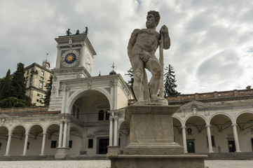 Caco statue and clock tower