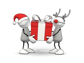 little sketchy man with santa hat and reindeer with big gift box