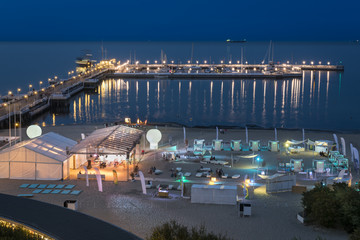 Night view of the pier at Sopot, Poland.