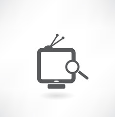 Magnifier and TV on white background. Isolated 3D image