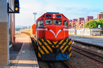 Train on the railway in Taiwan