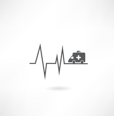 cardiogram with car icon