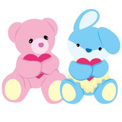 Bear and Rabbit Baby Toys Vector